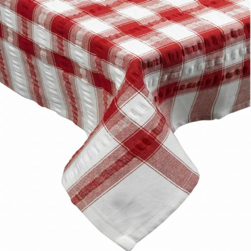 Red Seersucker Checked Tablecloth 100 % Cotton